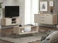 AGUSTIN Driftwood Effect Coffee Table with Grey Hairpin Legs